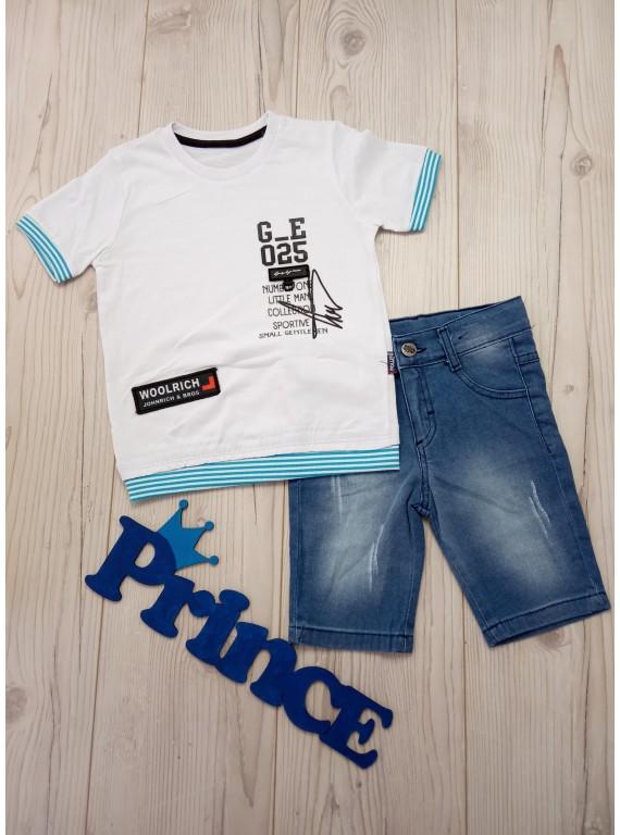 Летний костюм для мальчика футболка с джинсовыми шортами