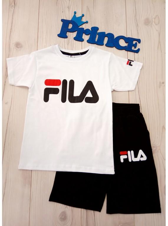 Модный летний костюм Fila для мальчика футболка белого цвета
