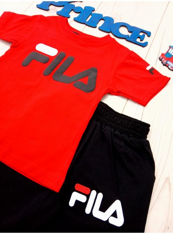 Модный летний костюм Fila для мальчика футболка красного цвета