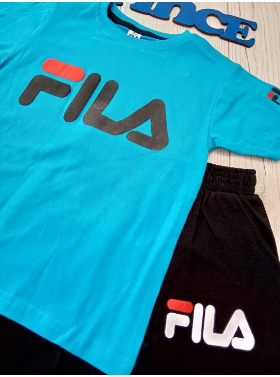Модный летний костюм Fila для мальчика футболка синего цвета