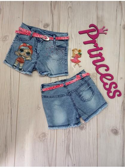 Джинсовые шорты для девочки с рисунком LOL