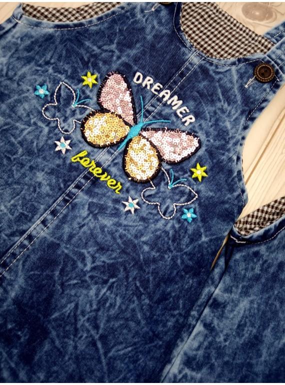 Джинсовый сарафан для девочки с пайетками рисунок бабочка