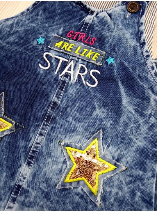 Джинсовый сарафан для девочки с пайетками с рисунком звёздочка