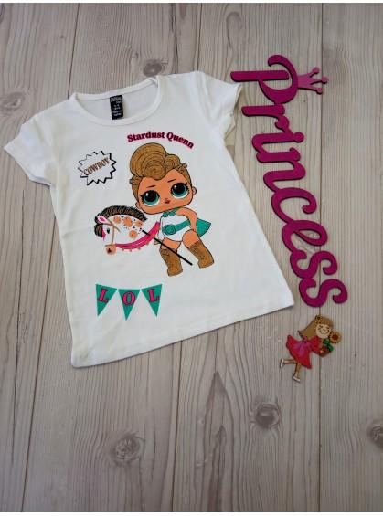 Модная футболка для девочки LoL ковбой