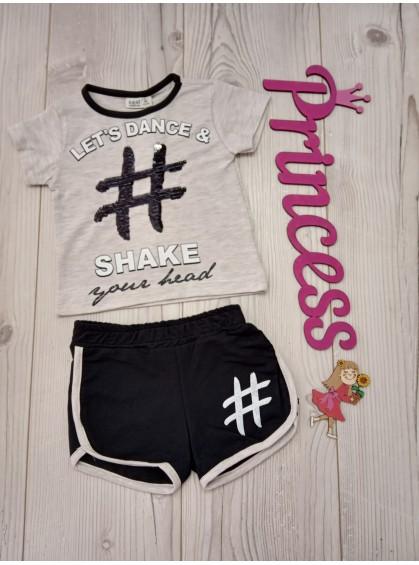Летний красивый комплект для девочки футболка с пайетками и шорты