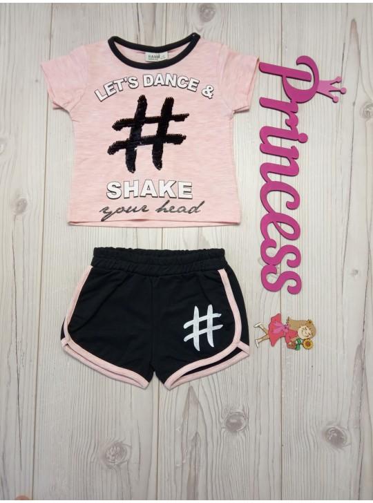 Летний комплект для девочки футболка с пайетками и шорты