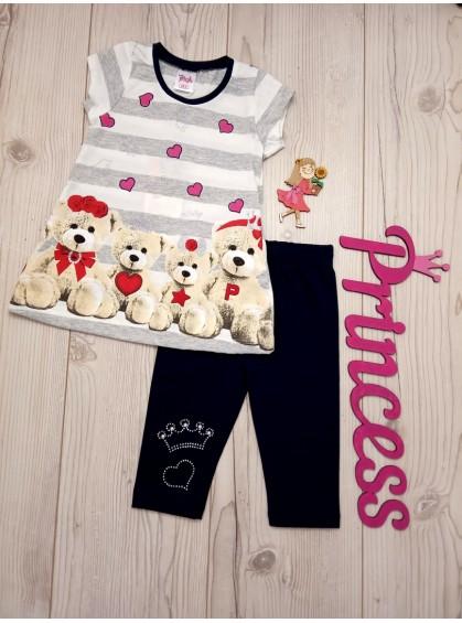 Летний детский комплект для девочки туника с бриджами