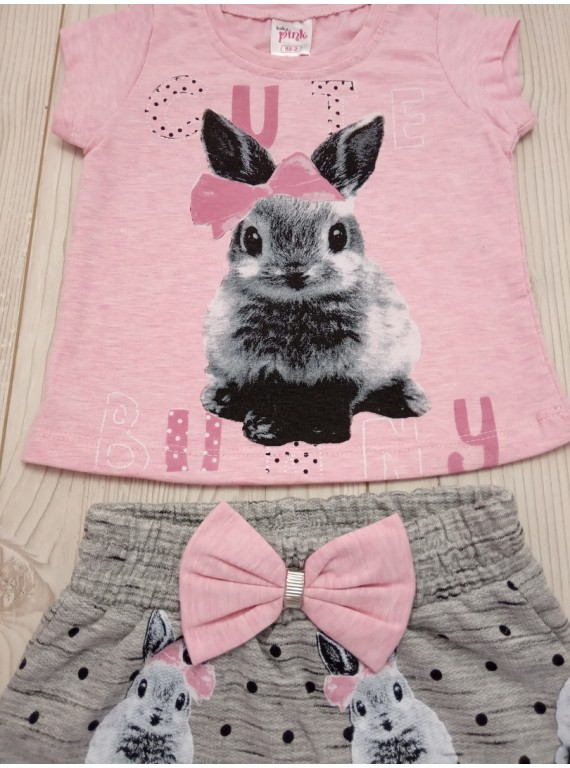 Летний костюм для девочки футболка с юбкой-шортами