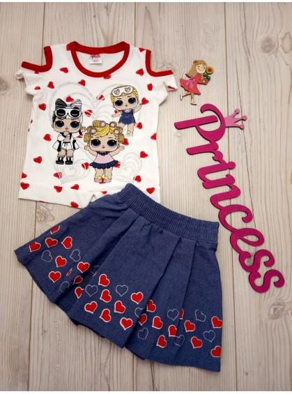 Модный летний костюм для девочки LoL футболка с юбкой
