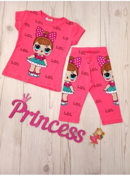 Летний модный костюм LOL для девочки футболка с бриджами