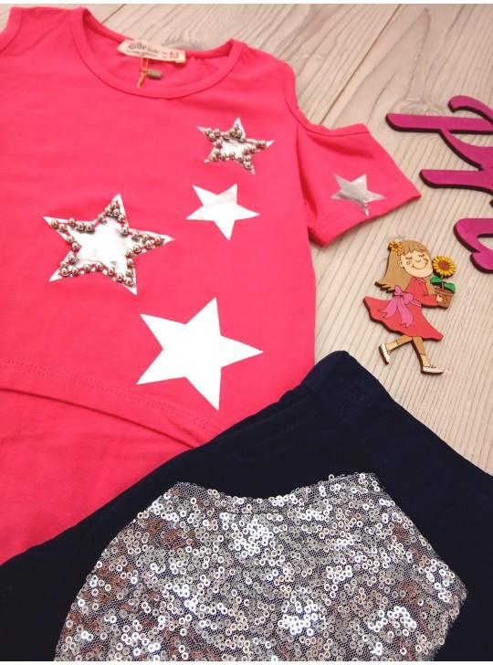 Модный комплект с пайетками для девочки футболка и шорты