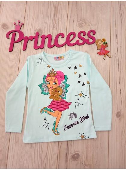 Модный детский реглан для девочки Фея бирюзового цвета