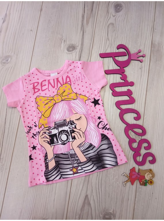 Модная футболка с принтом для девочки Benna Kids