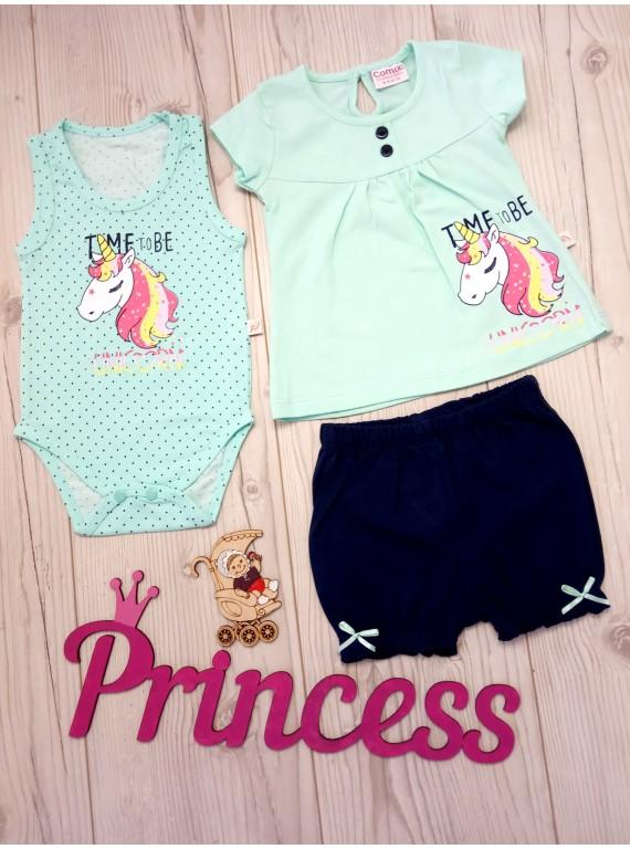 Модный комплект для новорожденных бодик, туника и шорты
