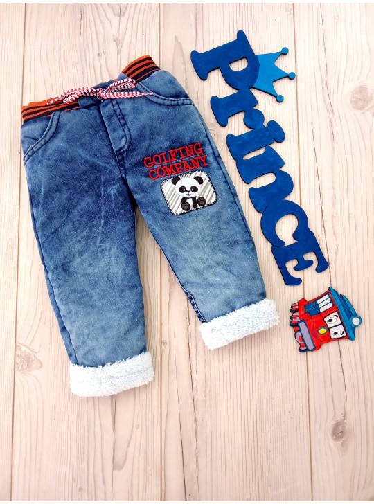 Детские тёплые джинсы для мальчика на махре