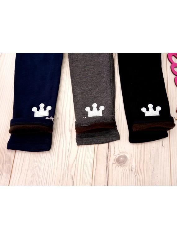 Для девочки модные детские термо лосины на меху корона