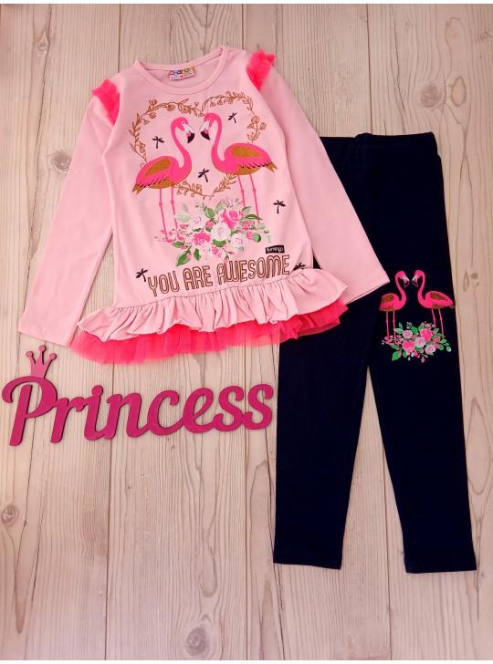 Для девочки детский костюм двойка фламинго
