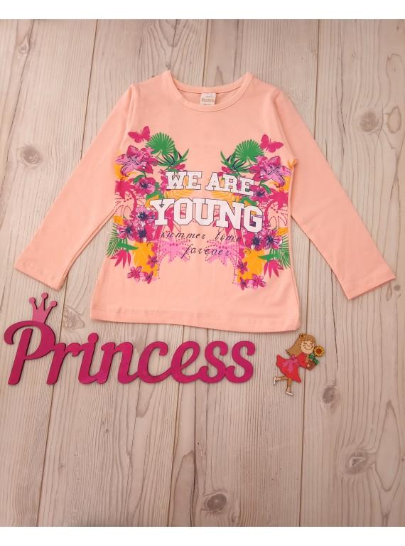 Детский реглан для девочки цвет персик