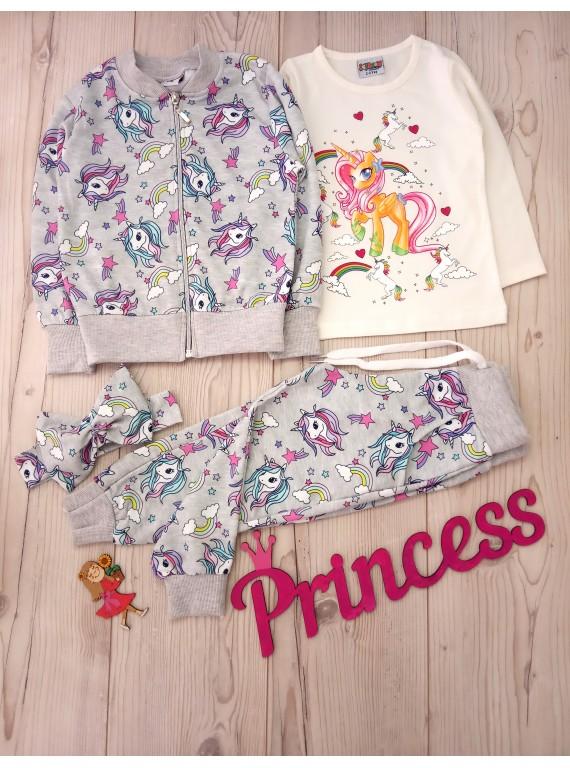 Для девочки детский модный костюм тройка единорог
