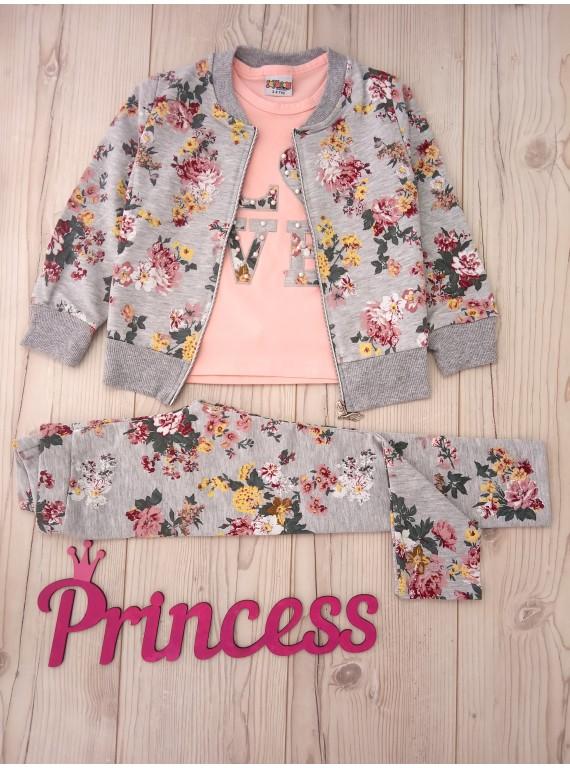 Для девочки детский костюм тройка принт цветы