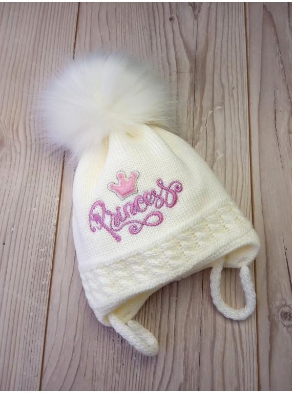 Детская шапка на флисе для девочки цвет молоко