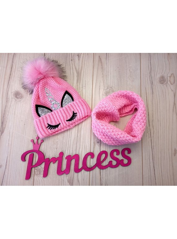 Для девочки комплект шапка на флисе и снуд