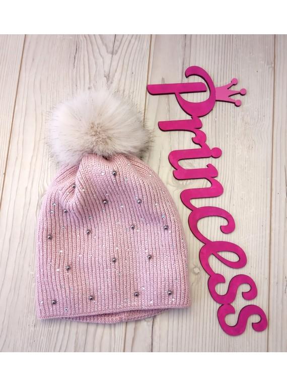 Красивая детская шапка на флисе для девочки