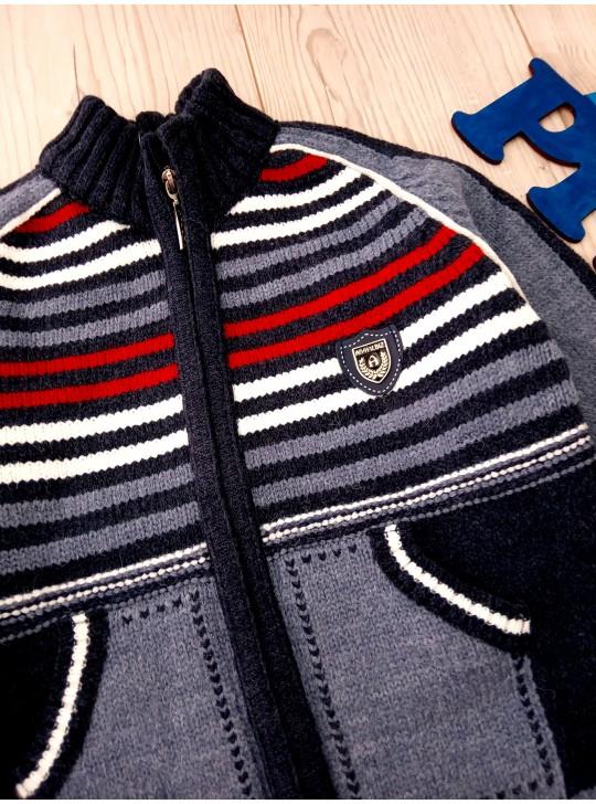 На мальчика тёплая зимняя кофта на молнии на 1-5 лет