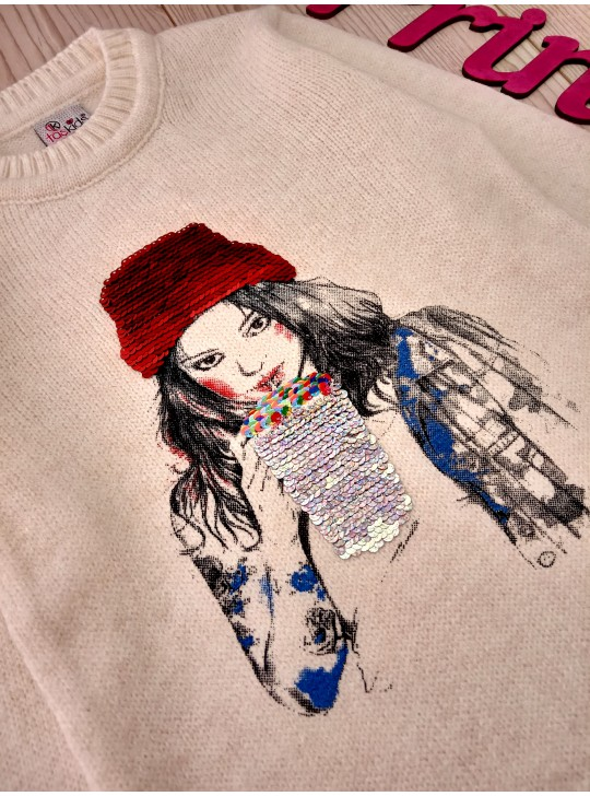 Тёплый свитер с пайетками для девочки