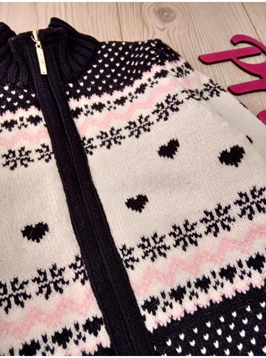 Детская тёплая зимняя кофта на молнии на 6-11 лет